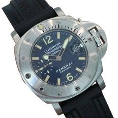 Panerai Stainless Steel Luminor Submersible Blue PAM Automatic Wristwatch