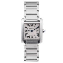 Cartier Stainless Steel Mid Size Tank Francaise Quartz Wristwatch