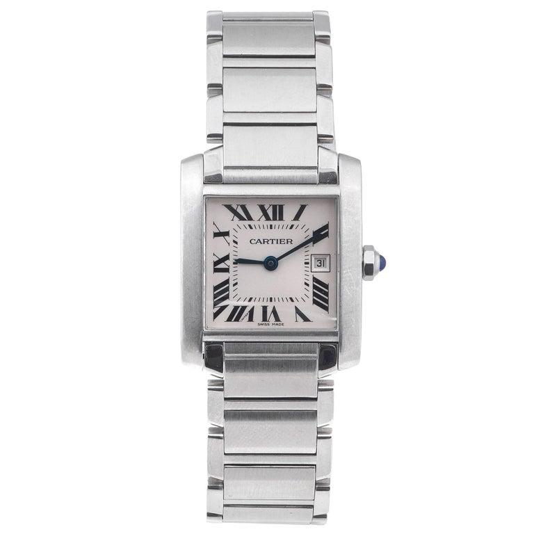 Cartier Stainless Steel Mid Size Tank Francaise Quartz Wristwatch