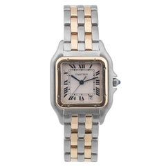 Cartier Yellow Gold Stainless Steel Panthere Quartz Bracelet Wristwatch