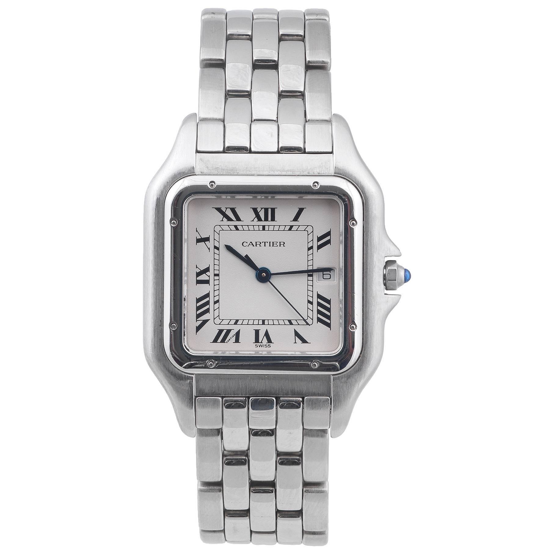 Cartier Stainless Steel Panthere Jumbo Bracelet Quartz Wristwatch