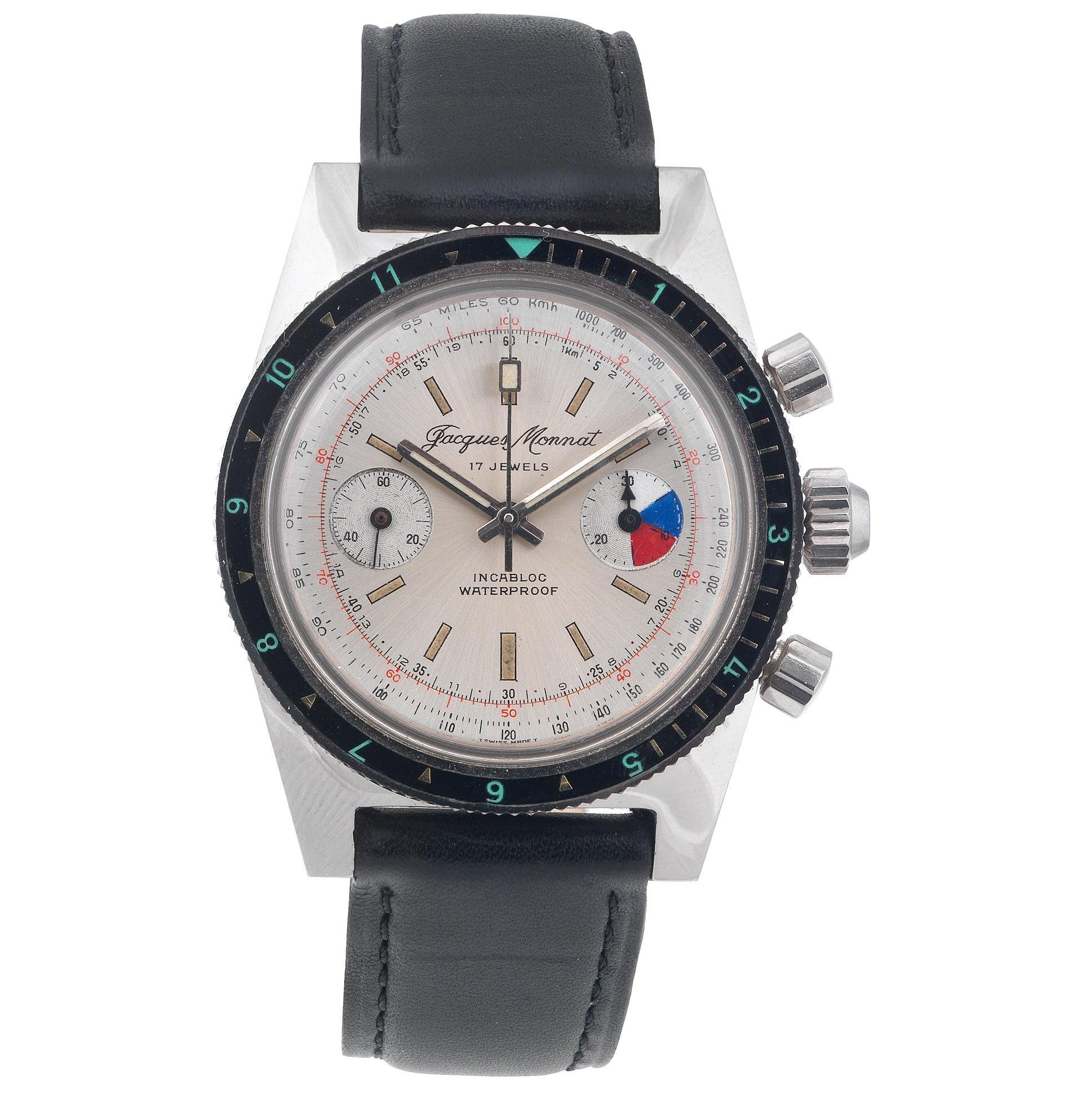 Jacques Monnat Stainless Steel Diver's Chronograph manual Wristwatch, 1970s