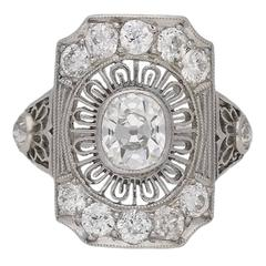 Antique diamond cluster ring by Gorham, American, circa 1905.