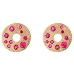 Jona Ruby 18K Brushed Pink Gold Stud Earrings