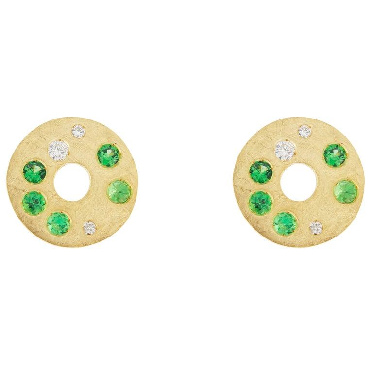 Jona Tsavorite White Diamond 18 Karat Yellow Gold Stud Earrings
