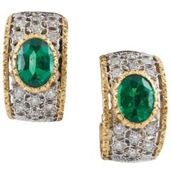 Mario Buccellati Diamond and Emerald Ear Clips
