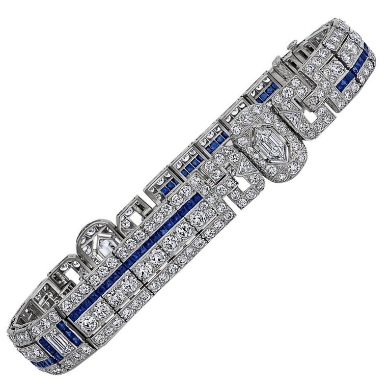 Art Deco Sapphire Diamond Bracelet For Sale