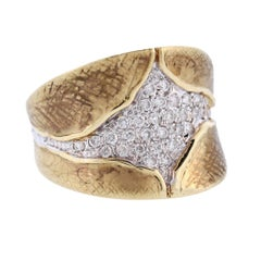 Gold Ring with Pave Diamond Centre