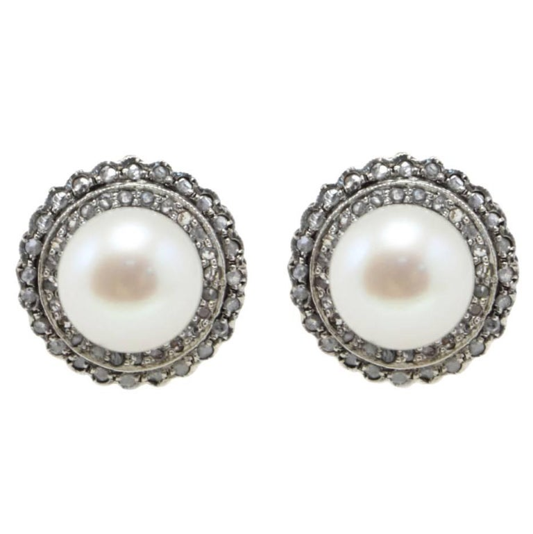 Luise Diamonds and Pearls Rose Gold Stud Earrings