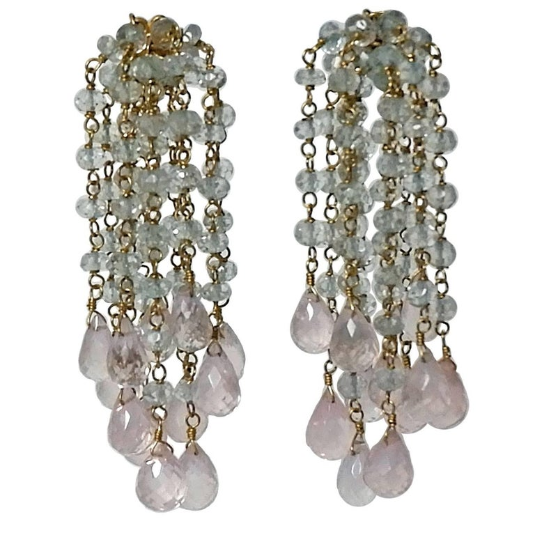Dancing Apsara Aquamarine Yellow Gold and Rose Quartz Bead Earrings For Sale