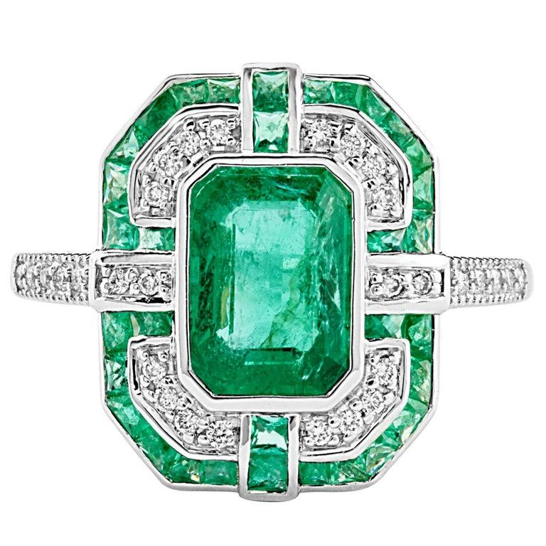 Geometric Design Octagon Emerald Diamond Ring 1