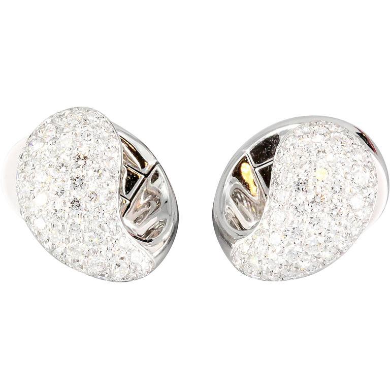 Cartier Huggies Diamond Gold Earrings