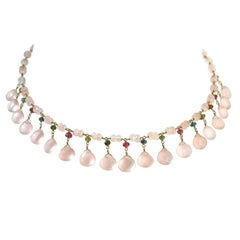 Dancing Apsara Rose Quartz, Yellow Gold and Tourmaline Bead Necklace