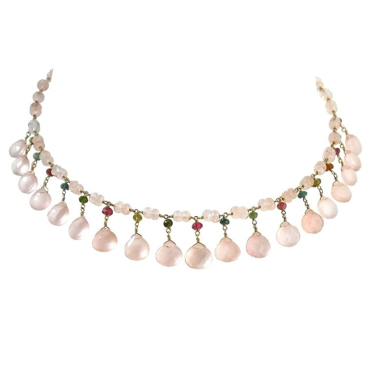 Dancing Apsara Rose Quartz Yellow Gold and Tourmaline Bead Necklace