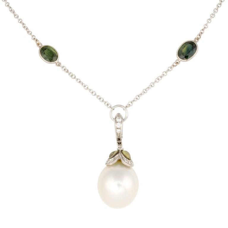 Ella Gafter White South Sea Pearl Sapphire Diamond Pendant Necklace