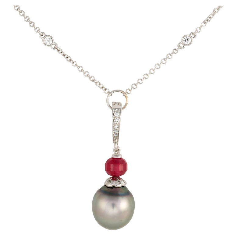 Ella Gafter Black Tahitian Pearl Diamond Gold Pendant Necklace