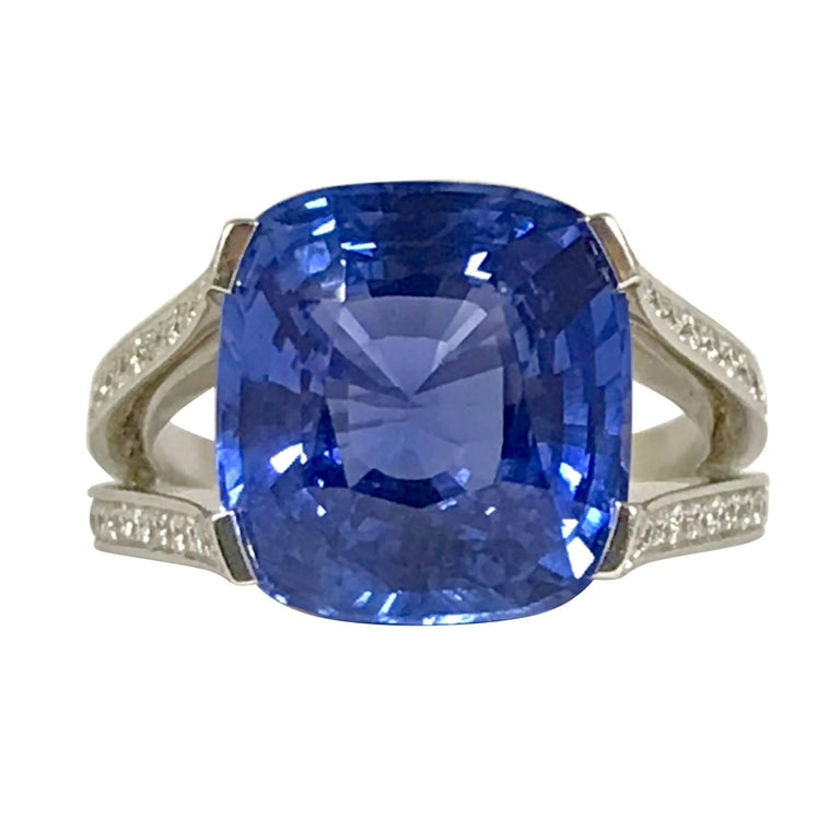 Natural Blue Sapphire GRS Certified 9.47 K and Diamonds Gold Palladium Ring 1