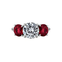 Burmese Ruby Diamond Platinum Three Stone Engagement Ring