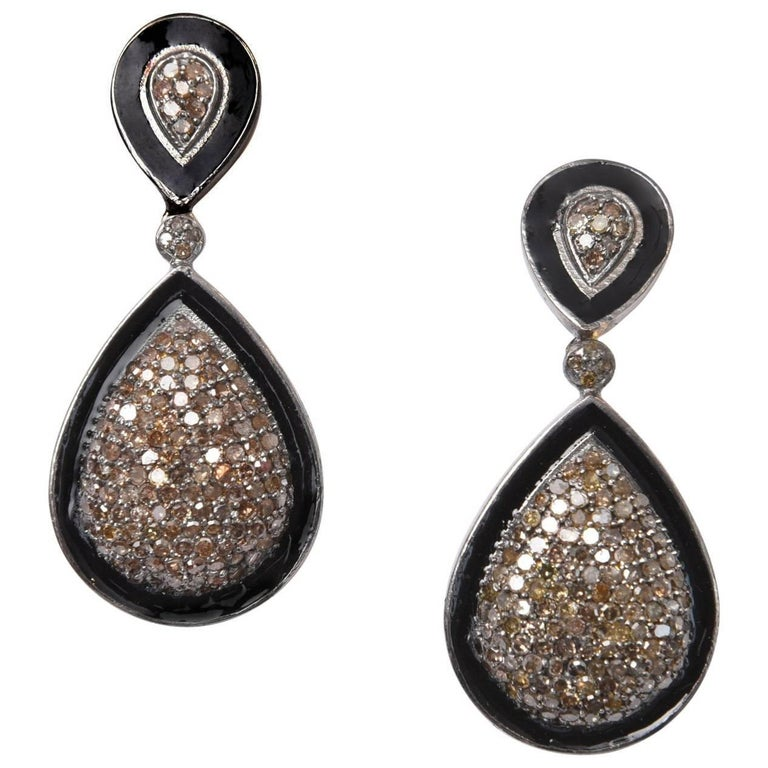 Pave` Diamond and Black Enamel Drop Earrings