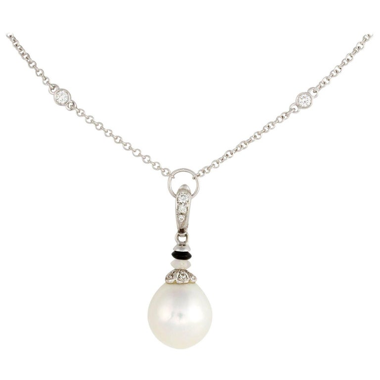 Ella Gafter White Pearl Diamond and Onyx Pendant Chain Necklace