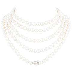 Ella Gafter Japanese Akoya White Pearl Strand Long Rope Necklace Sautoir
