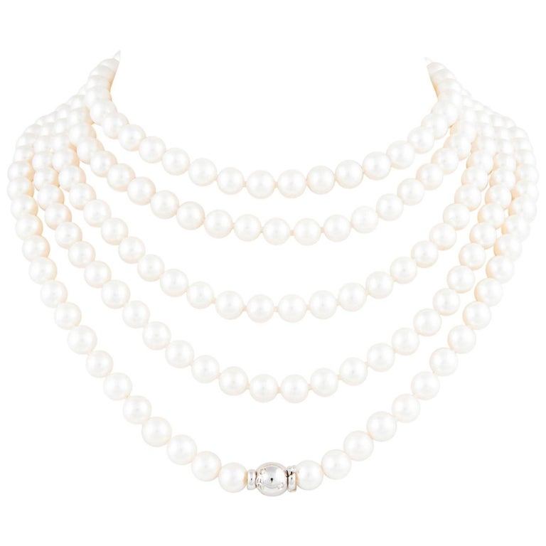 Ella Gafter Japanese Akoya White Pearl Strand Rope Necklace with Diamond Clasp