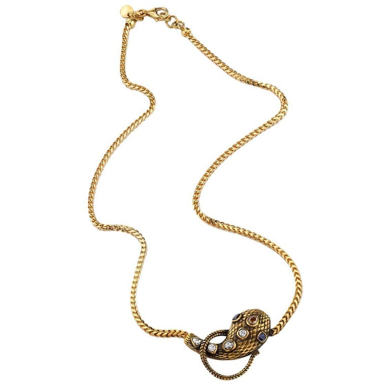 Handcrafted Yellow Gold Diamond and Sapphire Snake Necklace For Sale