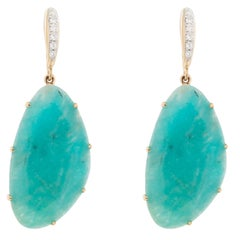 Jona Amazonite White Diamond 18k Yellow Gold Pendant Earrings