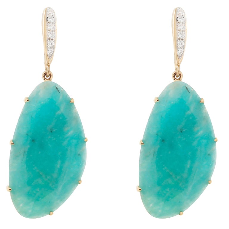 Jona Amazonite White Diamond 18k Yellow Gold Pendant Earrings For Sale