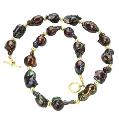 Deep Brown, Iridescent, Baroque Pearl Necklace