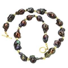 Gemjunky Deep Brown, Iridescent, Baroque Pearl Necklace