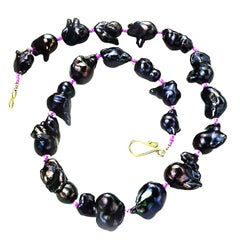Graduated, Iridescent, Deep Wine Red Baroque Pearl Necklace