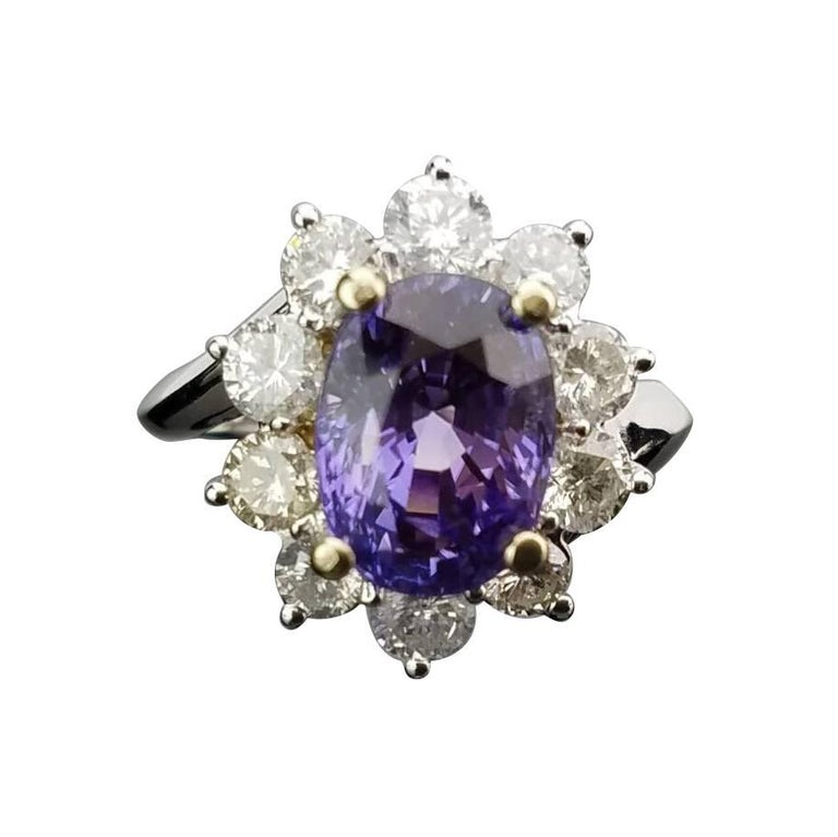 Classic Purple Sapphire and Diamond Ring