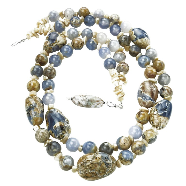 Dramatic Double Strand Necklace of Blue Chalcedony in Matrix