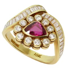 Diamond Ruby Triangle Yellow Gold Ring