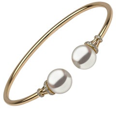 Yoko London Freshwater pearl and white diamond bracelet in yellow gold