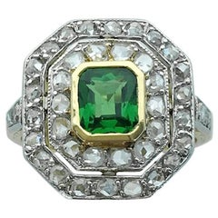 1930s Art Deco Diamond Platinum Gold Tsavorite Ring