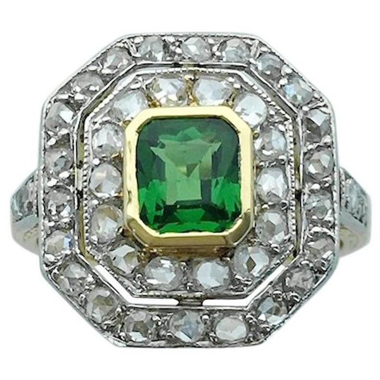 1930s Art Deco Diamond Platinum Gold Tsavorite Ring