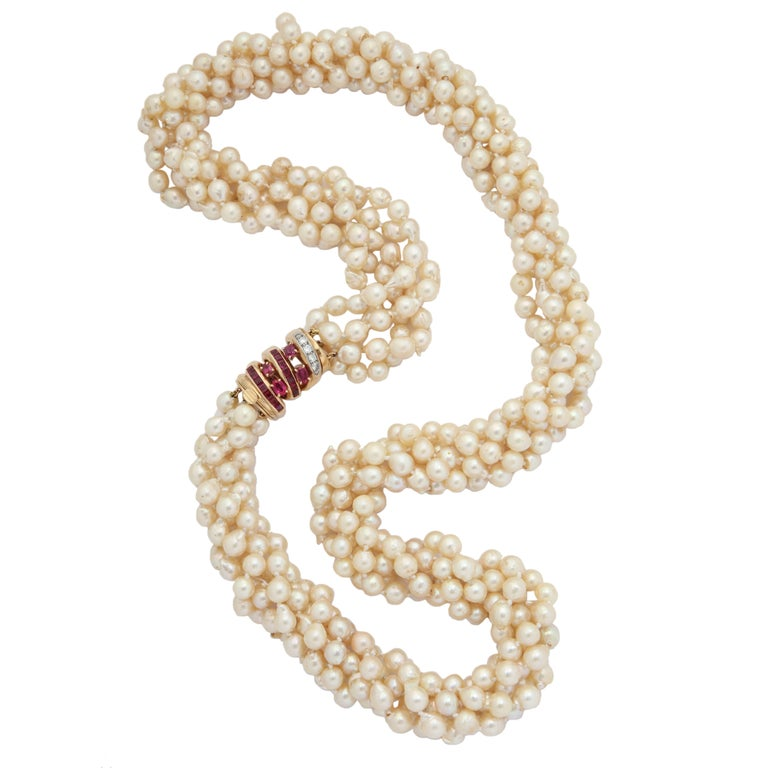 1950s Seaman Schepps Multiple Pearl Strand and Ruby with Diamonds Clasp