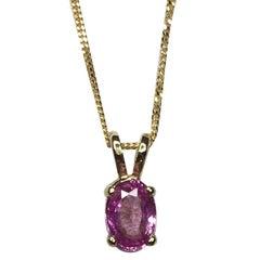 IGI Certified 0.78 Carat Ceylon Pink Sapphire 18 Karat Gold Solitaire Pendant