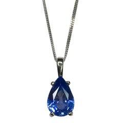 Ceylon Blue Sapphire 1.34 Carat Pear/Teardrop Cut Solitaire White Gold Pendant