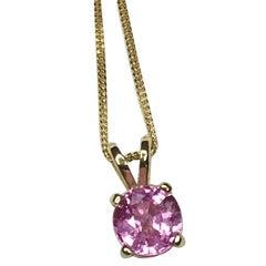 Untreated Pink Sapphire 1.01 Carat Round Cut 18 Karat Gold Solitaire Pendant