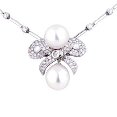 Ella Gafter Diamond and South Sea Pearl White Gold Pendant Chain Necklace Brooch