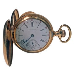 American Waltham yellow gold Hunter Case Pocket Watch, circa 1900