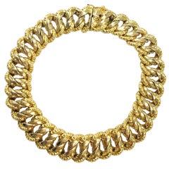 Antique French Gold Curved Link Bracelet