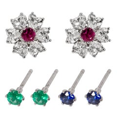 2.91 TDW Floral Interchangeable Diamond Earrings Set with Heart Shape Diamonds