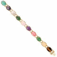 40.00 Carat Natural Tiger Eye Amethyst Quartz Aventurine Gold Link Bracelet