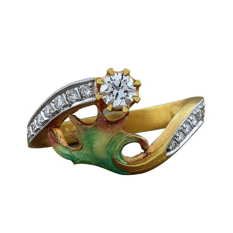Masriera Diamond Enamel Gold Ring