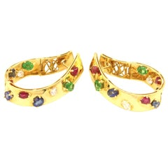 Multicolored Precious Gems Diamond Sapphire Ruby Tsavorite Gold Twisted Hoops
