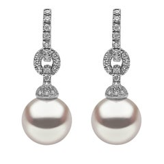 Yoko London South Sea Pearl and Diamond Drop Hoop Earring 18K White Gold